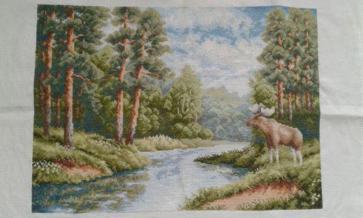 Пейзаж ручной работы. Ярмарка Мастеров - ручная работа. Купить Картина вышитая Летний лес. Handmade. Вышитая картина крестиком