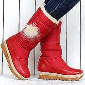 Обувь ручной работы handmade. Livemaster - original item Womens boots quilted winter white red green. Handmade.