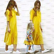 Одежда ручной работы. Ярмарка Мастеров - ручная работа Трикотажные платья для мамы и дочки. Handmade.