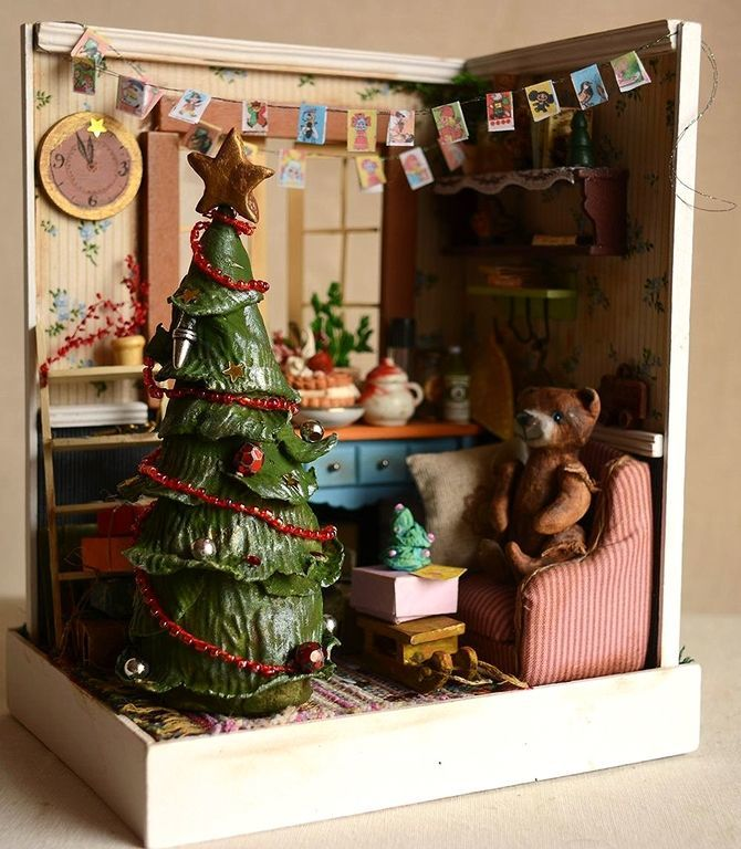 A roombox 'the Christmas den', Miniature figurines, St. Petersburg,  Фото №1