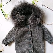 Работы для детей, handmade. Livemaster - original item Knitted jumpsuit with fur. Handmade.