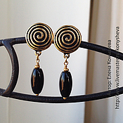 Украшения handmade. Livemaster - original item Short clip-on earrings with black agate). Handmade.