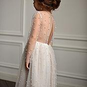 Платья ручной работы. Ярмарка Мастеров - ручная работа Платье с бусинами молочного цвета. Handmade.