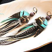 Украшения handmade. Livemaster - original item Wild turquoise feather earrings.. Handmade.