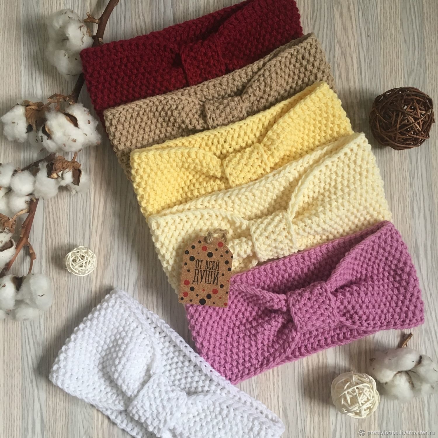 Knitted 'Pearl' headbands for the off-season, Bandage, Ekaterinburg,  Фото №1
