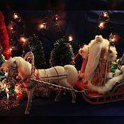 Куклы и игрушки ручной работы. Ярмарка Мастеров - ручная работа Дед Мороз и Снегурочка едут на праздник!. Handmade.