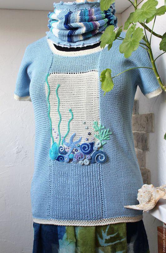Кофты и свитера ручной работы. Ярмарка Мастеров - ручная работа. Купить Джемпер День на море. Handmade. Голубой, комплект вязаный