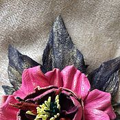 """Украшения ручной работы. Ярмарка Мастеров - ручная работа Кожаная брошь """"Розовая роза"""". Handmade."""
