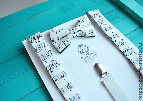 Tie with Suspenders white notes with notes / Kit Maestro, Ties, Moscow,  Фото №1