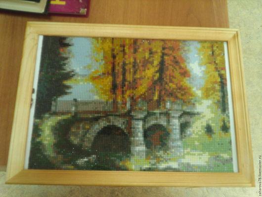 Пейзаж ручной работы. Ярмарка Мастеров - ручная работа. Купить Осенний мостик. Handmade. Комбинированный, алмазная техника