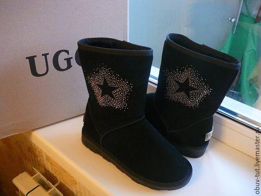 Обувь ручной работы. Ярмарка Мастеров - ручная работа. Купить Угги со звездой черные 35,36,37,38,39,40,41. Handmade.