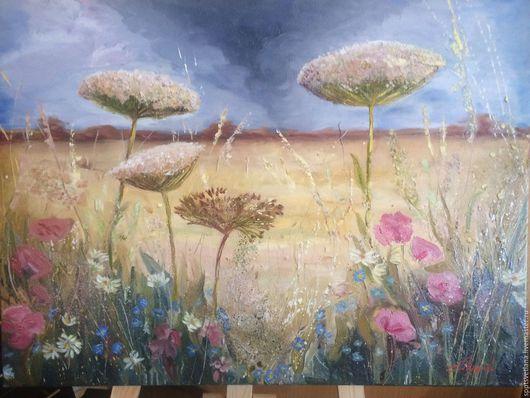 Пейзаж ручной работы. Ярмарка Мастеров - ручная работа. Купить Летний пейзаж с полевыми цветами. Handmade. Комбинированный