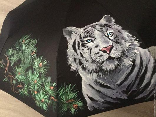 Зонты ручной работы. Ярмарка Мастеров - ручная работа. Купить Зонт с росписью -    Белый тигр. Handmade. Черный, тигр