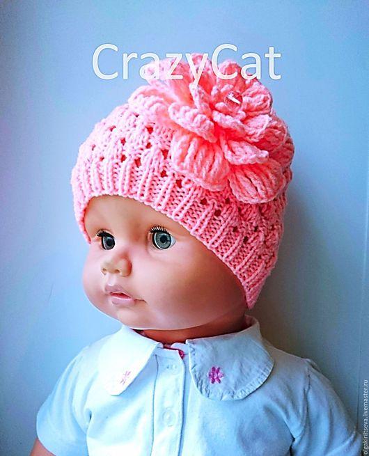 """Для новорожденных, ручной работы. Ярмарка Мастеров - ручная работа. Купить Шапочка вязаная """"Casual"""" вариант для девочки. Handmade. Розовый"""