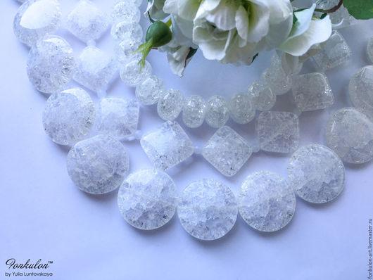 Для украшений ручной работы. Ярмарка Мастеров - ручная работа. Купить Кварц Снежный (сахарный, ледяной) Кракле формы бусины. Handmade.