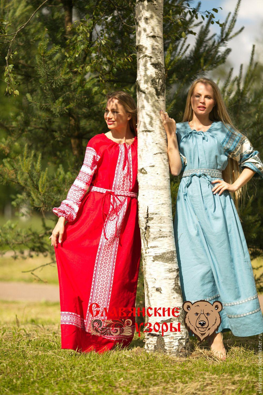 Славянское платье из льна сшить 44
