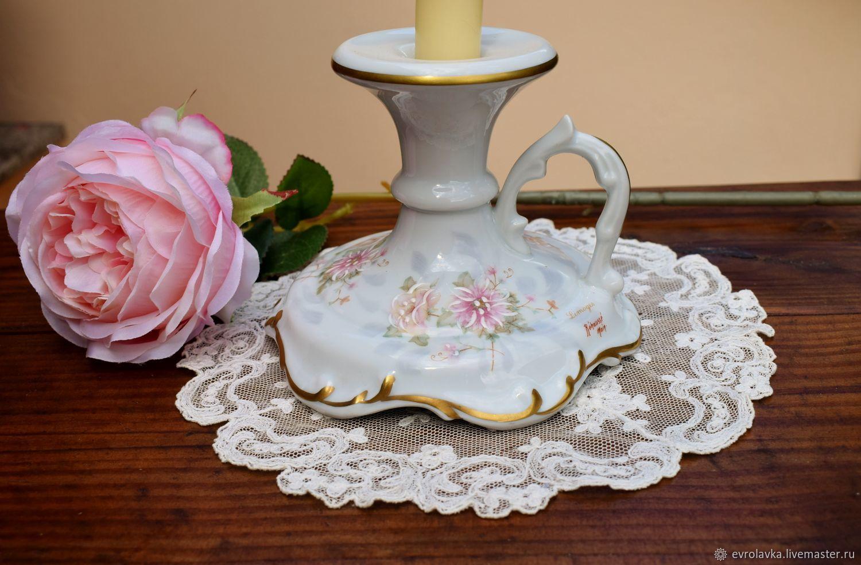 Limoges.Vintage porcelain candle holder. France, Vintage interior, Trier,  Фото №1
