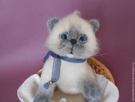Игрушки животные, ручной работы. Ярмарка Мастеров - ручная работа. Купить Котёнок Сенди.. Handmade. Белый, Валяные игрушки