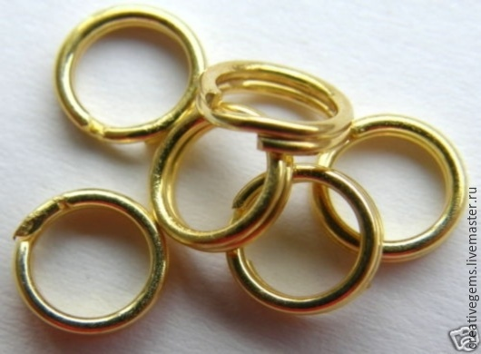 Сплит колечки соединительные из позолоченного серебра 925 пробы; Цена за 1 шт. арт. 4206