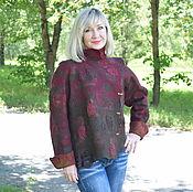 Одежда ручной работы. Ярмарка Мастеров - ручная работа Жакет валяный Шерсть 100%шёлк  Вишнёвый. Handmade.