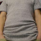 """Одежда ручной работы. Ярмарка Мастеров - ручная работа джемпер  из 100%льняной пряжи в технике прессовый жаккард """"Кирпичики"""". Handmade."""