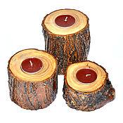Для дома и интерьера handmade. Livemaster - original item Wooden candlesticks made of elm wood (elm)-2 pcs. WC19. Handmade.