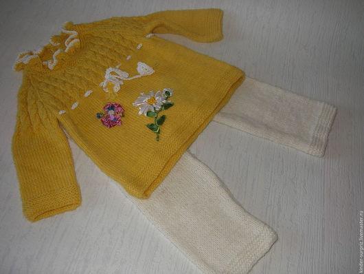 Одежда для девочек, ручной работы. Ярмарка Мастеров - ручная работа. Купить Костюм для девочки. Handmade. Желтый, комплект вязаный