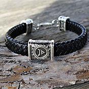 Украшения handmade. Livemaster - original item Velez Braided Leather Bracelet 925 Sterling Silver. Handmade.