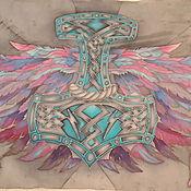 Аксессуары handmade. Livemaster - original item Scarves: Silk scarf stole Wings Batik natural silk. Handmade.