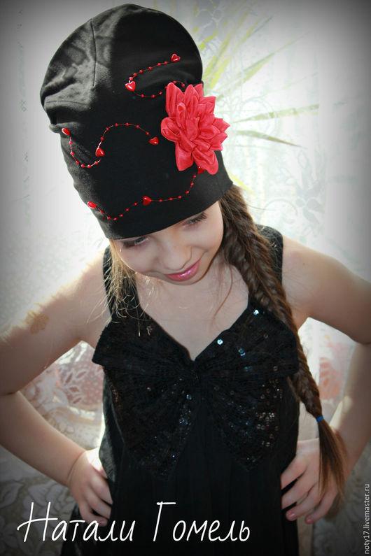 """Шапки и шарфы ручной работы. Ярмарка Мастеров - ручная работа. Купить Шапка с цветком """"Мисс Кармен"""". Handmade. Черный, подарок"""