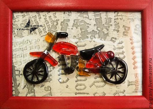 """Город ручной работы. Ярмарка Мастеров - ручная работа. Купить картина из стекла """"Мото"""". Handmade. Ярко-красный, подарок мужчине"""