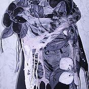 """Аксессуары ручной работы. Ярмарка Мастеров - ручная работа Шарф """"Черно-белые цветы"""". Handmade."""