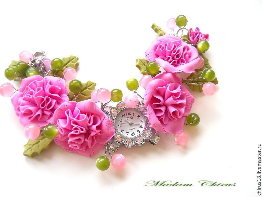 """Часы ручной работы. Ярмарка Мастеров - ручная работа. Купить """" Время пионов"""". Handmade. Цветы, цветы в украшении"""