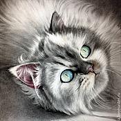 Картины и панно handmade. Livemaster - original item Portrait of a pet in the dry brush technique. Cat.. Handmade.