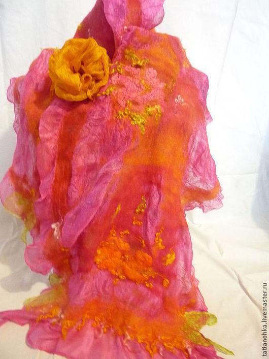 Оригинальный палантин,шарф,подарок,натуральный шёлк,палантин красивый,палантин из шерсти