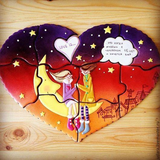 Кулинарные сувениры ручной работы. Ярмарка Мастеров - ручная работа. Купить LOVE IS..... Сердце пазл 40х30см. Handmade.