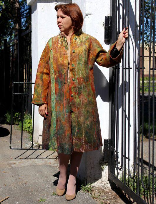 """Верхняя одежда ручной работы. Ярмарка Мастеров - ручная работа. Купить Валяное пальто """"Этюд"""". Handmade. Рыжий, Красивое пальто"""
