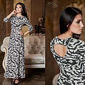 Платье теплое макси темно-серое белый молочный