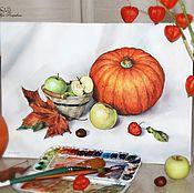 Картины и панно ручной работы. Ярмарка Мастеров - ручная работа Натюрморт с тыквой. Handmade.