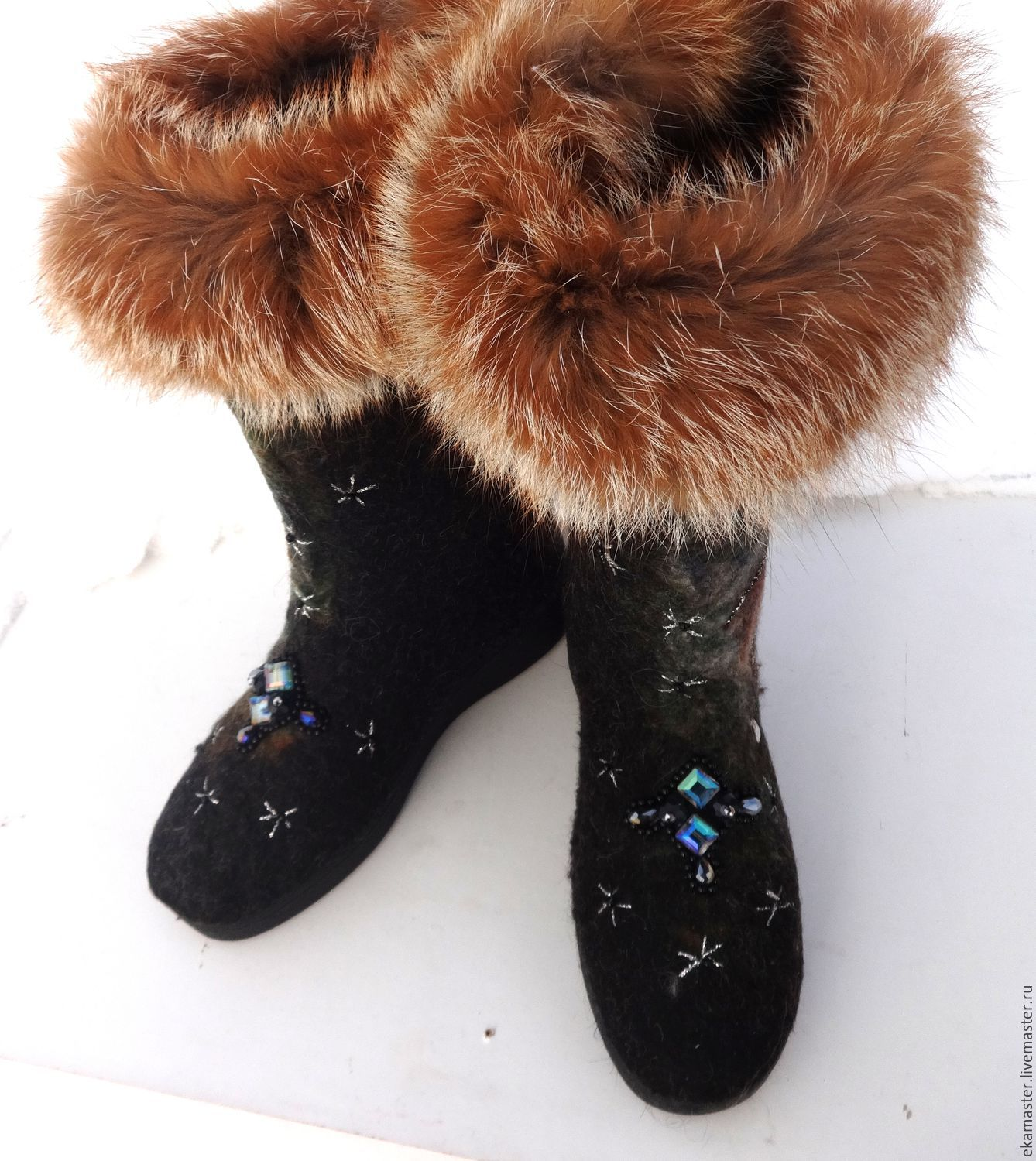 Set Boots and mittens felted 'Winter night', High Boots, Ekaterinburg,  Фото №1