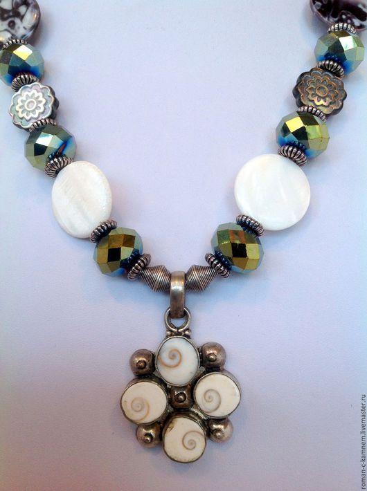 Романтическое колье в винтажном стиле  Морская стихия. Уникальное украшение ручной работы. Handmade gifts.