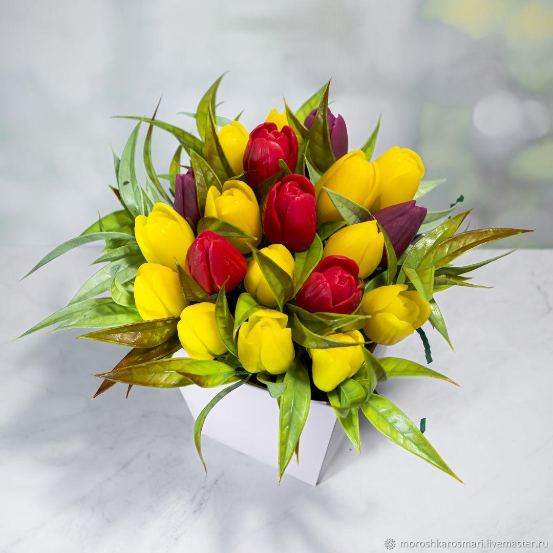 креативные букеты из тюльпанов фото дизайна
