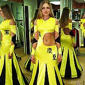 """Одежда ручной работы. Ярмарка Мастеров - ручная работа Платье-трансформер (отстегивается) """"Желто-черные иероглифы"""" с вышивкой. Handmade."""
