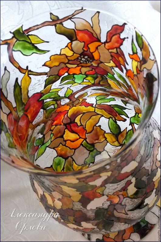"""Вазы ручной работы. Ярмарка Мастеров - ручная работа. Купить Ваза """"Осенняя рапсодия"""". Handmade. Осень, коричневый, имитация витража"""