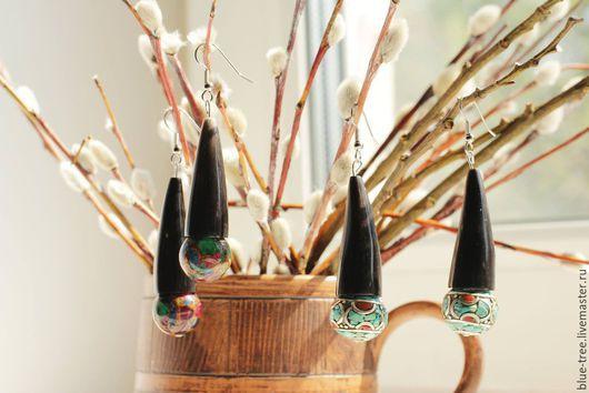 """Серьги ручной работы. Ярмарка Мастеров - ручная работа. Купить Серьги """"Красочный рог"""". Handmade. Разноцветный, бирюза, варисцит"""