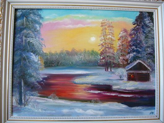 """Пейзаж ручной работы. Ярмарка Мастеров - ручная работа. Купить """"Зимний пейзаж"""". Handmade. Белый, пейзаж маслом, зимний пейзаж"""
