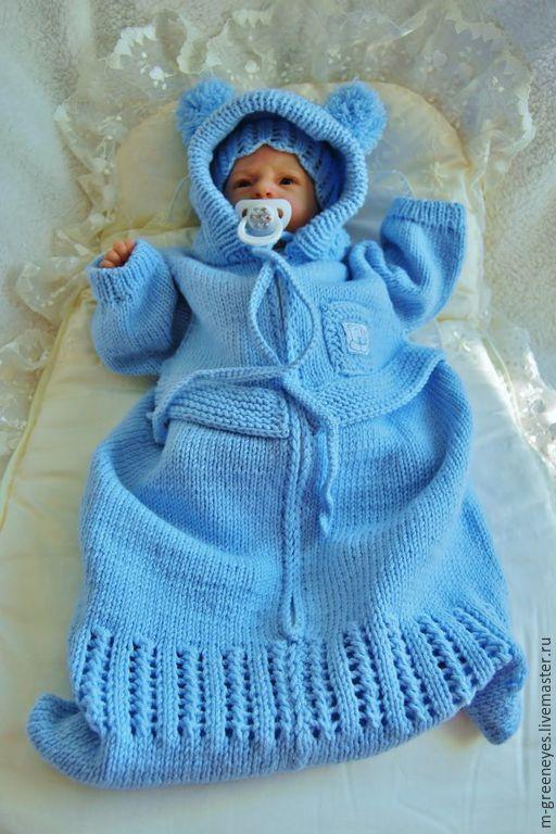 """Для новорожденных, ручной работы. Ярмарка Мастеров - ручная работа. Купить Конверт на выписку """"Морозное небо"""". Handmade. Голубой"""