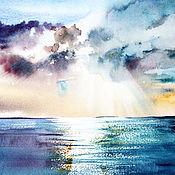 Картины и панно ручной работы. Ярмарка Мастеров - ручная работа Акварель. Картина акварелью. Небо и море. Handmade.