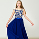 """Платья ручной работы. Ярмарка Мастеров - ручная работа. Купить """"Дарина"""". Handmade. Тёмно-синий, платье вечернее, вышивка на заказ"""