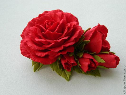 Заколки ручной работы. Ярмарка Мастеров - ручная работа. Купить заколка с красными розами.. Handmade. Ярко-красный, заколка с розами